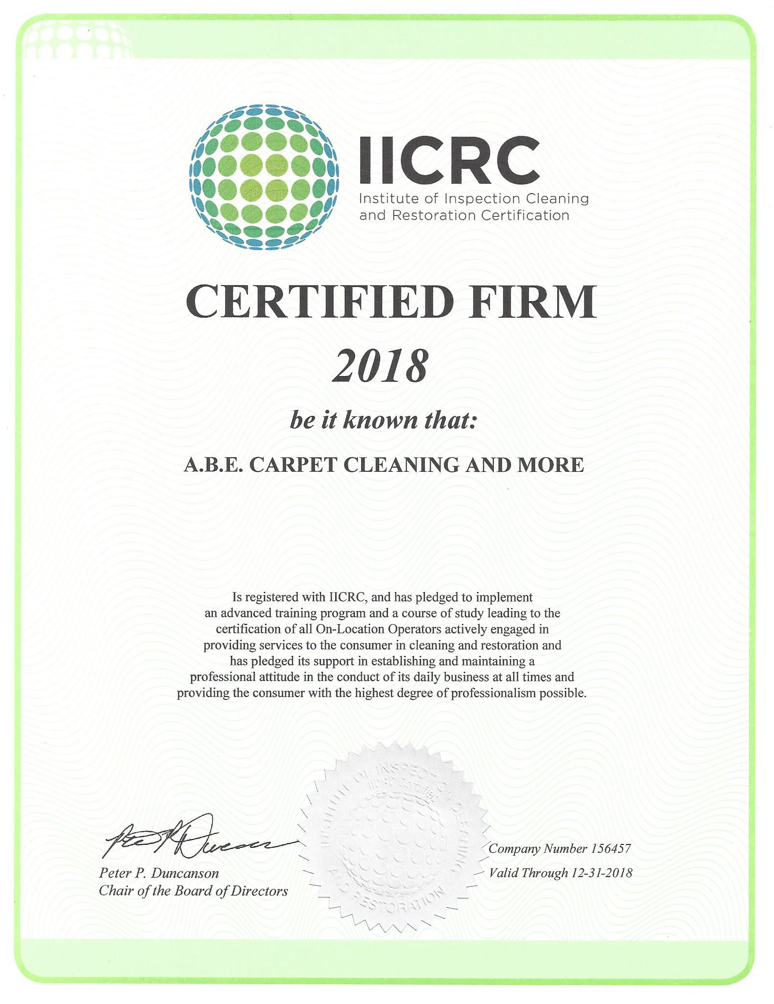 Abe Carpet Cleaning And More Iicrc Certification